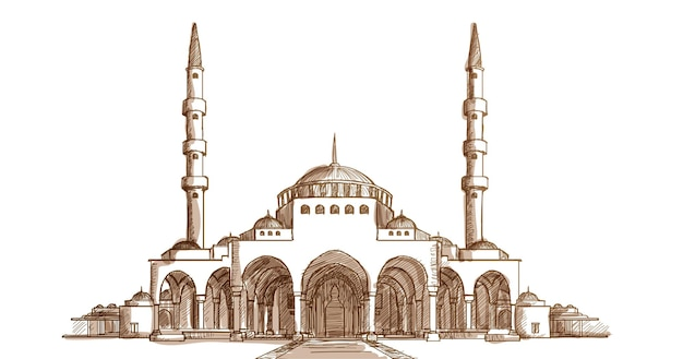 Islam mosque front view hand drawn sketch illustration