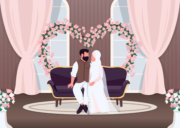 イスラム新婚夫婦フラットカラーイラスト