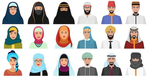 Islam  people icons. arabic muslim avatars muslim face heads of male and female.