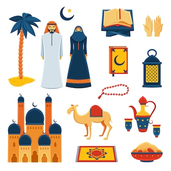 Islam religion flat icons set