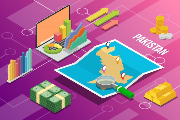 Islam republic of pakistan isometric business economy growth country