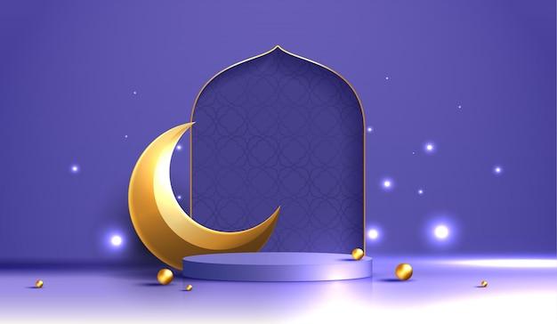 イスラム教のテーマ製品または化粧品は、表彰台と空白の紫色の背景のモスクポータルフレームを表示します