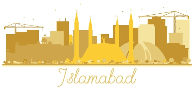 Islamabad pakistan city skyline golden silhouette isolated on white. vector illustration. travel concept for web site. islamabad cityscape with landmarks.