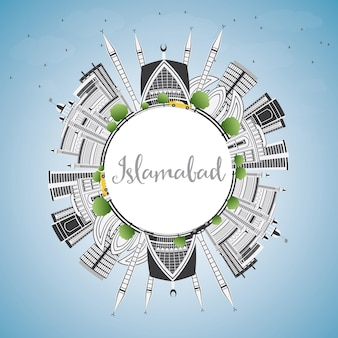 Горизонт исламабада с серыми зданиями, голубым небом и копией пространства. векторные иллюстрации. деловые поездки и концепция туризма с исторической архитектурой. изображение для презентационного баннера и веб-сайта.