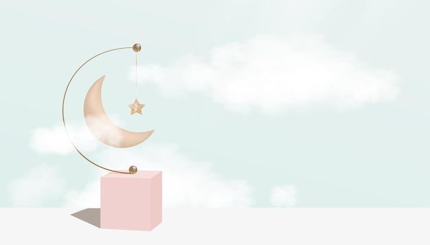 ふわふわの雲、ピンクゴールドの三日月と星がぶら下がっているイスラムの3d表彰台