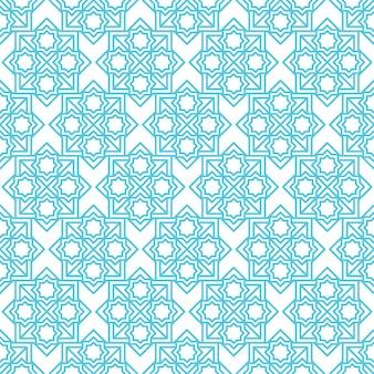 イスラムの抽象的な飾りシームレスパターン、背景のアラビア語の幾何学的な飾り