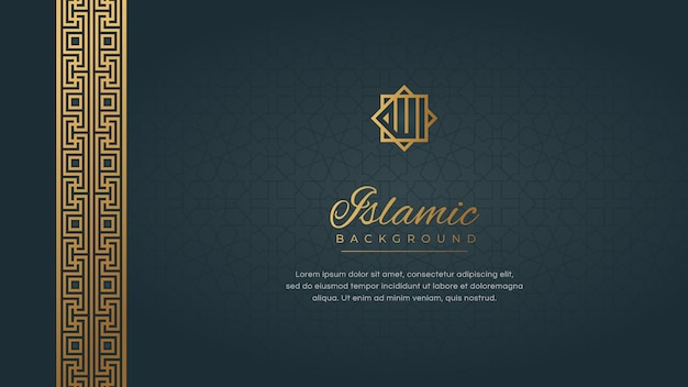 Islamic arabic background with abstract golden elegant luxury border frame