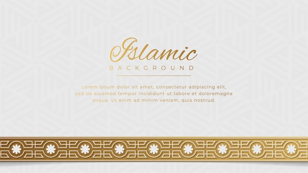 Islamic arabic golden ornament arabesque border background with copy space for text
