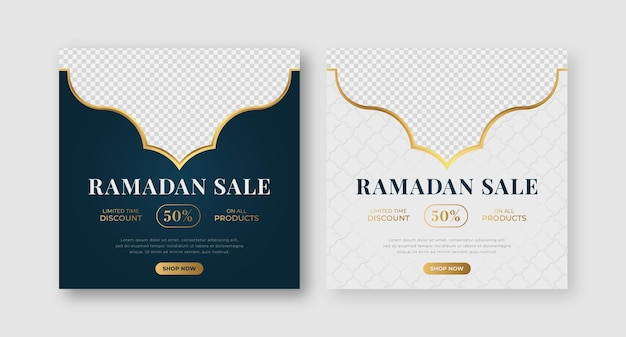 イスラムアラビアの豪華なラマダンカリームイードムバラクセールバナー