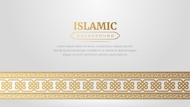 Islamic arabic style golden ornament border frame pattern background with copy space for text