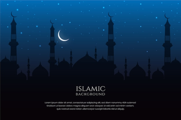 Islamic architecture mosque silhouette night sky and crescent moon background