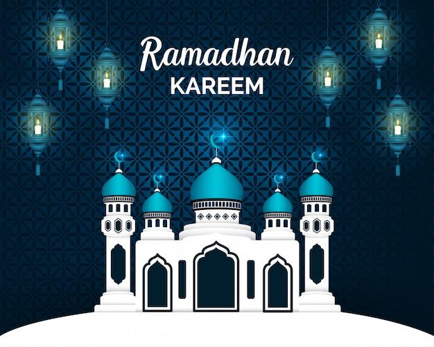 ブルーランタンとテクスチャで飾られたイスラムの背景デザイン