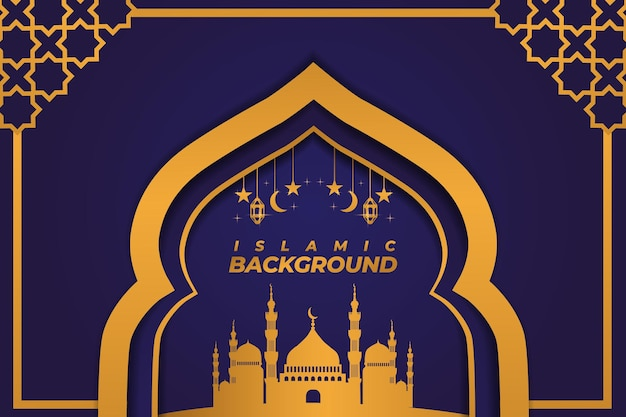 イスラム背景モスク飾りゴールドパープルグラデーション