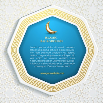 Islamic background for social media template flyer with octagonal frame and blue background