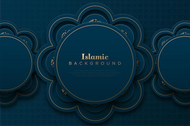 3d円飾りとイスラムの背景。