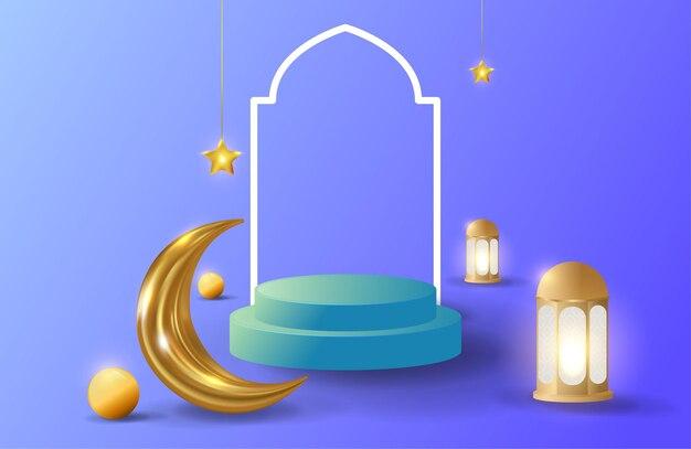 青い表彰台の販売と金色のランタンとイスラムの背景
