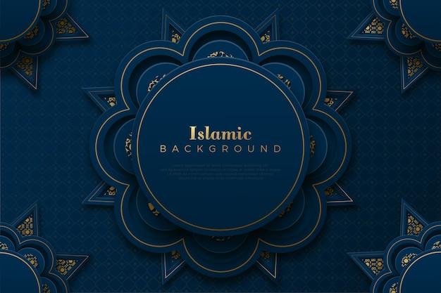 Исламский фон с орнаментом круга в темно-синем и золотом.
