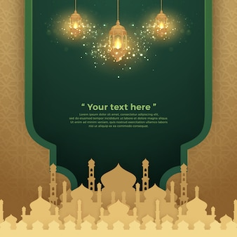 Islamic background with glowing hanging lantern and mosque.