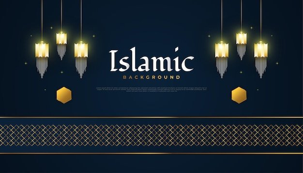 Islamic background with gold arabic lanterns and abstract elegant on dark background