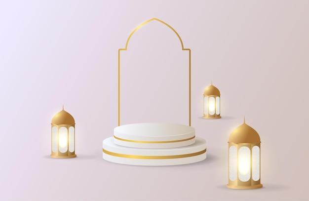 金の表彰台の販売と金のランタンとイスラムの背景