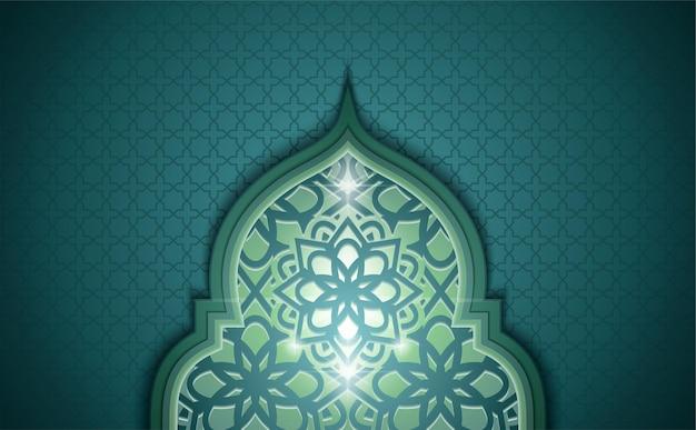緑のドームの装飾品とイスラムの背景