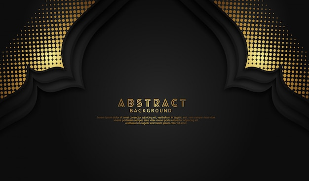 Islamic background with mosque door effect and gold halftone ornament