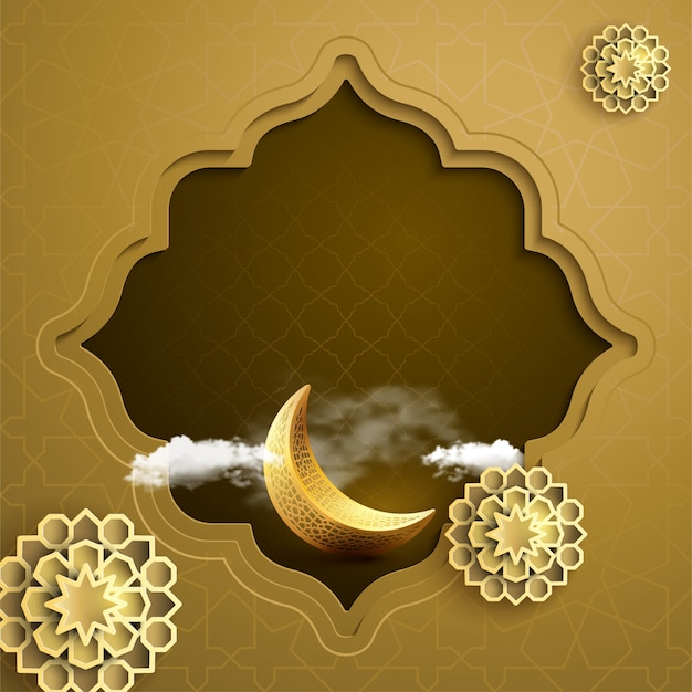 Islamic banner background greeting with gold crescent symbol and geometric pattern eastern style