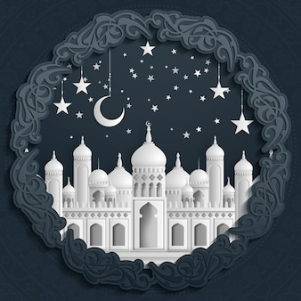 Islamic beautiful design template. mosque with moon and stars on white background in paper cut style.