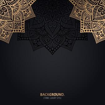 金の曼荼羅の装飾とイスラム黒の背景