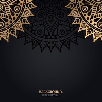 Islamic black background with gold mandala decoration