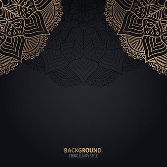 Исламский черный фон с золотым украшением мандалы
