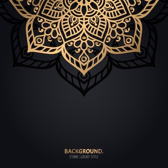 Islamic black background with gold mandala decoration
