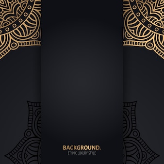 Islamic black background with golden geometric mandala circles