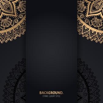 Islamic black background with golden geometric mandala circles