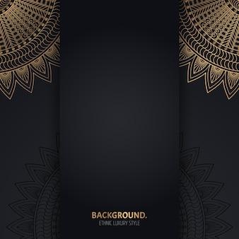 Sfondo nero islamico con cerchi geometrici dorati mandala Vettore gratuito