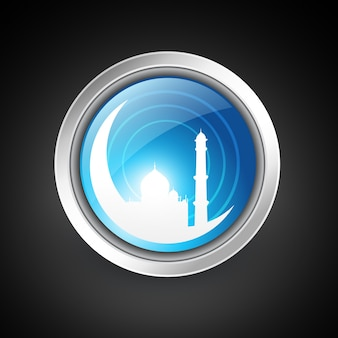 Islamic button illustration with mosque and moon