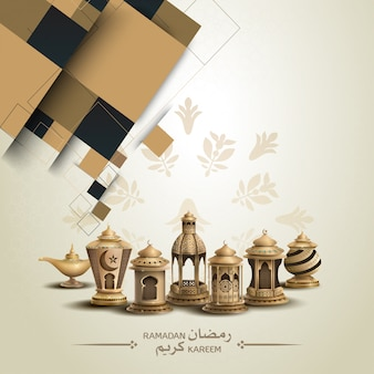 Islamic card design with gold lanterns