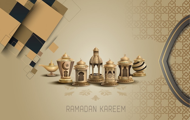 Islamic card design with lanterns and patterns