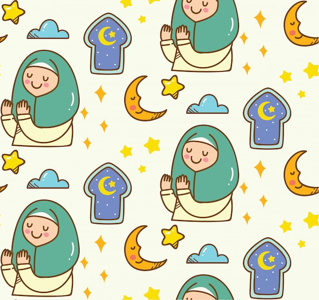 Islamic cartoon doodle background