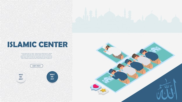 Islamic center concept banner for web