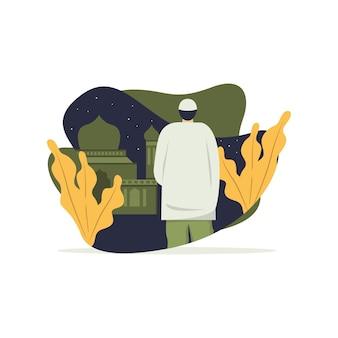 モスクと自然フラットイラストとイスラムのキャラクター