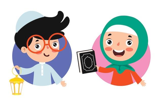 램프와 코란 거룩한 책을 들고 이슬람 어린이