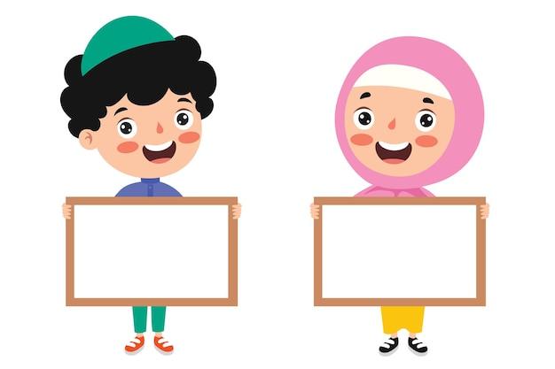 빈 배너를 들고 이슬람 어린이