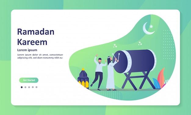 Islamic concept for happy eid murabak banner