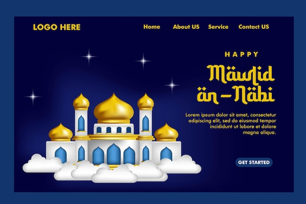 Islamic concept landing page with a mosque background