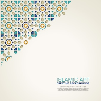 Islamic creative background with colorful mosaic