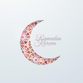 Islamic crescent moon with brilliant crystals and girih traditional arabic pattern. muslim religion illustration. ramadan kareem