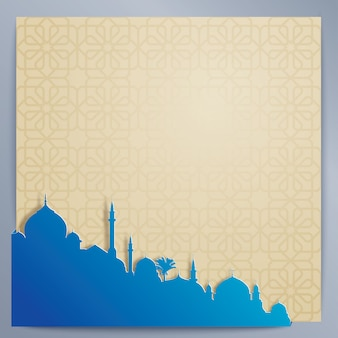 Islamic design background arabic pattern and silhouette mosque