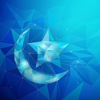 Islamic design background geometric star and crescent icon