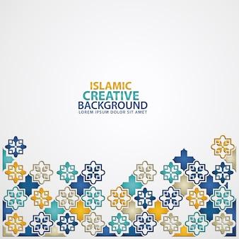 花のモザイクイスラム美術の装飾品の装飾的なカラフルなディテールとイスラムデザインの背景テンプレート。